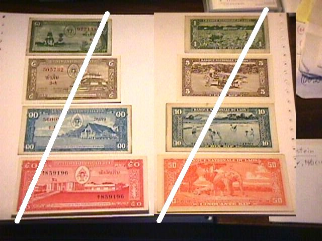 Loatian 1, 5, 10 & 50 Kip Notes