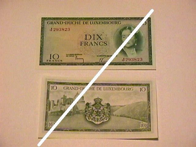 Luxembourgian 10 Franc Note